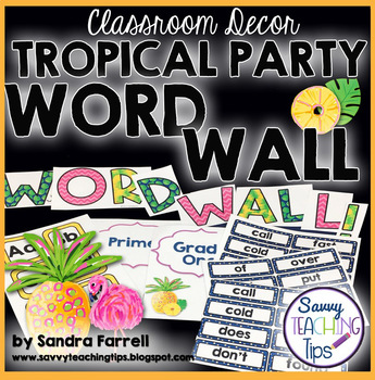 Back to School Classroom Decor TROPICAL PARTY Word Wall