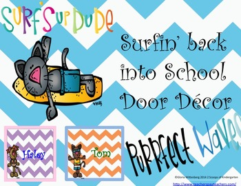 Back to School Classroom Door Decor  & More Surfin Cats