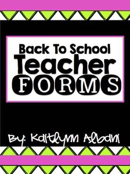 Back to School Classroom Forms - Substitute Binder [Pink & Green]