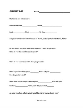 Back to School:  Classroom Forms for Students of Secondary Teachers