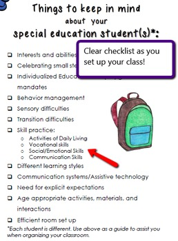 Back to School Classroom Guide for Secondary Special Education