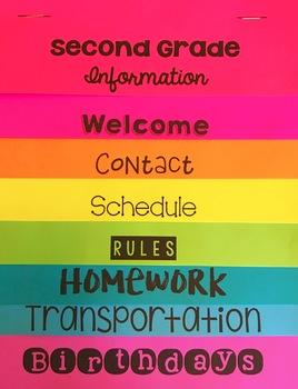 Back to School Classroom Information Flip Book