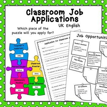 Free Back to School Classroom Jobs Application AUS UK