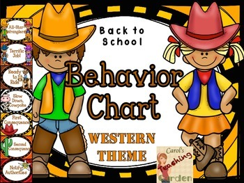 Back to School Classroom Management Behavior Chart Western Theme