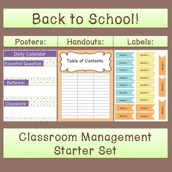 Back to School Classroom Management Starter Kit: Posters, Labels, and More!