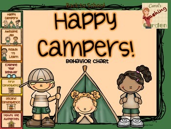 Back to School Classroom Management Happy Campers Behavior Chart