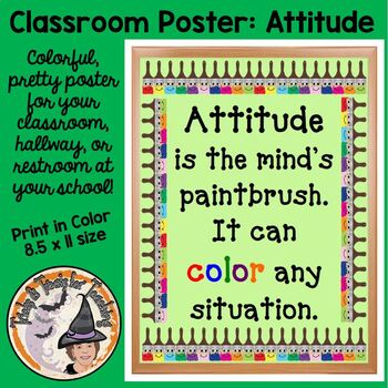 Back to School Classroom Motivational Quote Poster Attitude is Minds Paintbrush