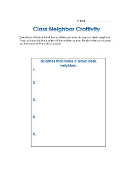 Back-to-School Classroom Neighbor Craftivity