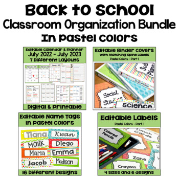 Back to School Editable Classroom Organization and Decor BUNDLE in Pastel Colors