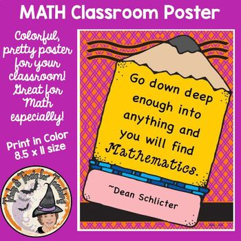 Back to School Classroom Poster Motivational Quote Mathematics Math Sign