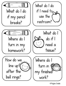 Back to School Classroom Procedure Task Cards- Editable!