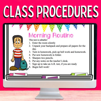 Back to School Classroom Procedures Editable PowerPoint Whiteboard Theme!