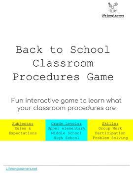 Back to School Classroom Procedures Game