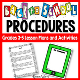 Back to School Classroom Procedures Grades 3-5