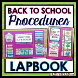 Back to School Classroom Procedures Lapbook