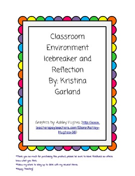 Back to School Classroom Reflections/Ice Breaker