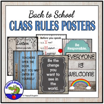 Back to School Classroom Rules Posters  - Rustic Shabby Chic
