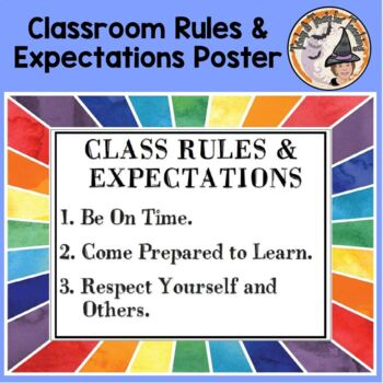 Back to School Classroom Rules and Expectations Colorful Border Mini Poster