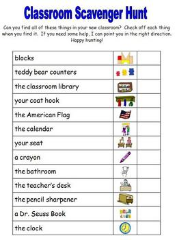 Exhilarating image for classroom scavenger hunt printable