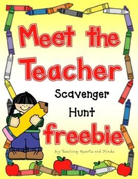 Meet the Teacher Back to School Classroom Scavenger Hunt