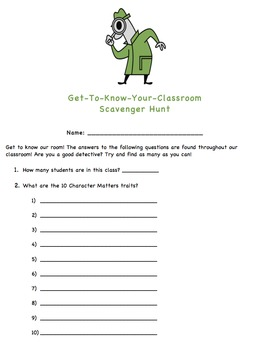 Back to School - Classroom Scavenger Hunt