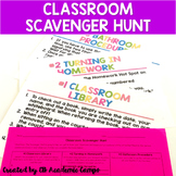 Classroom Scavenger Hunt Back to School EDITABLE