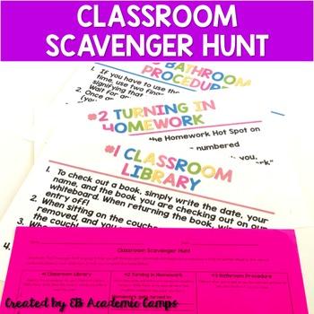 Back to School Classroom Scavenger Hunt (EDITABLE)
