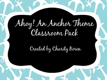 Back to School Classroom Set- Pirate/Nautical/Anchor Theme