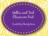 Back to School Classroom Set- Yellow and Teal