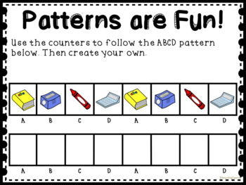 Back to School - Classroom Themed Patterns for Math Centers