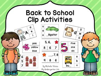Back to School Clip Activities