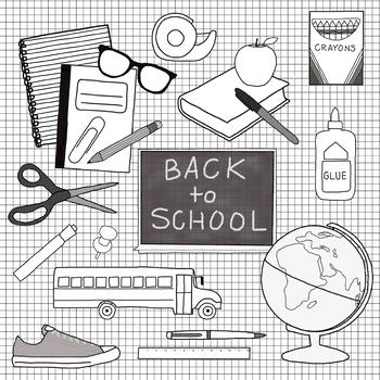 Back to School Clip Art - B&W