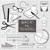 Back to School Clip Art - B&W