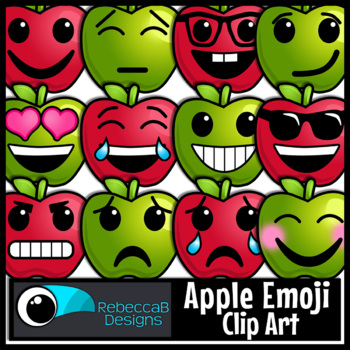Back to School Clip Art: Apple Emoji Clip Art, Emotions Clip Art