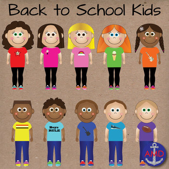Back to School Clip Art Kids-Classroom of 20 Students in Glitter & Neon Style