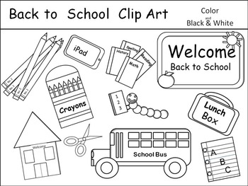 Back to School Clip Art Color and Black and White