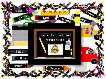 Back to School Clip Art ~ Crayons Pencil Glue Bus Car Ruler Border