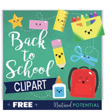 Back to School Clipart **FREE** Cute School Supplies Clipart
