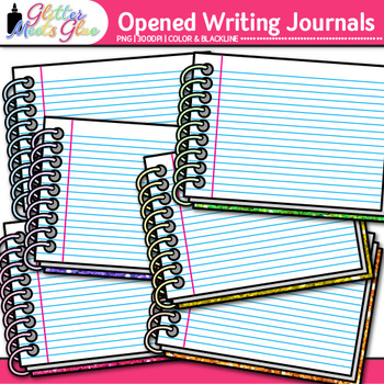 Opened Writing Journal Clip Art {Back to School Supplies for ELA Prompts}