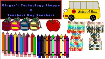 Back to School Clip Art * Pencils * Crayons * School Bus * Bookbag