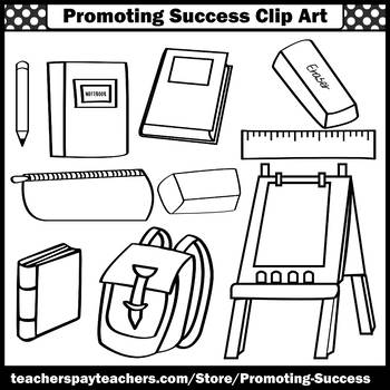 Back to School Clip Art, School Supplies Clipart, Books, Easel, Backpack SPS