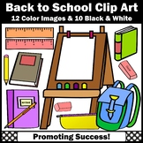 Back to School Supplies Clipart, Books, Easel, Backpack, Rulers SPS