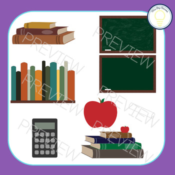 Back to School | Clip Art Set | Books, Pencils, Apples and more!