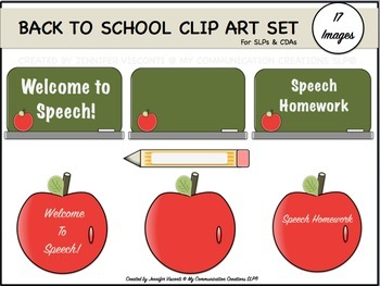 Back to School {Clip Art Set} For SLPs + CDAs