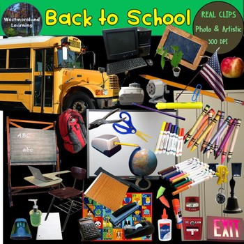 Back to School Clip Art Set Photo & Artistic Digital Stickers 70 images