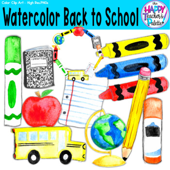 Back to School Clip Art Watercolor {The Happy Teacher's Palette Clip Art}