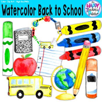 HTP Clip Art Back to School Watercolor {The Happy Teacher's Palette}