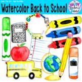 Back to School Clip Art Watercolor {The Happy Teacher's Pa