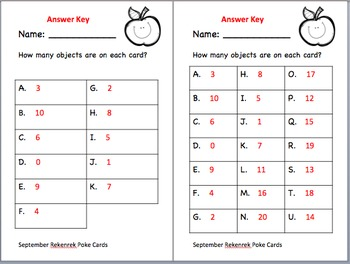 Back to School Clip and Poke Math Center Cards 0-20