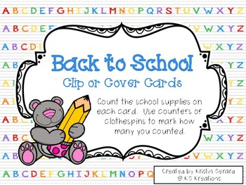 Back to School Clip or Cover Counting Cards Cards